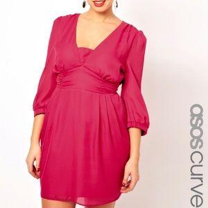 ASOS Curve Vibrant Pink Tulip Plus Size Dress B9